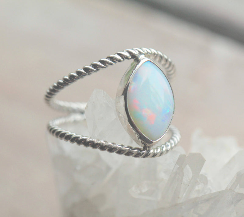 White Opal, Opal Ring, Genuine Opal Ring, Stylish Ring, High Fashion, Marquise Ring, Split Band Ring, Rope Twist Ring, Large Opal Ring
