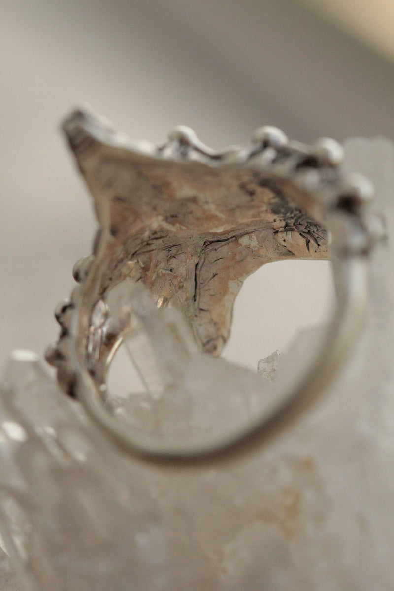 Mens Nature Ring, Starfish, 925 Sterling Silver Carved Ring