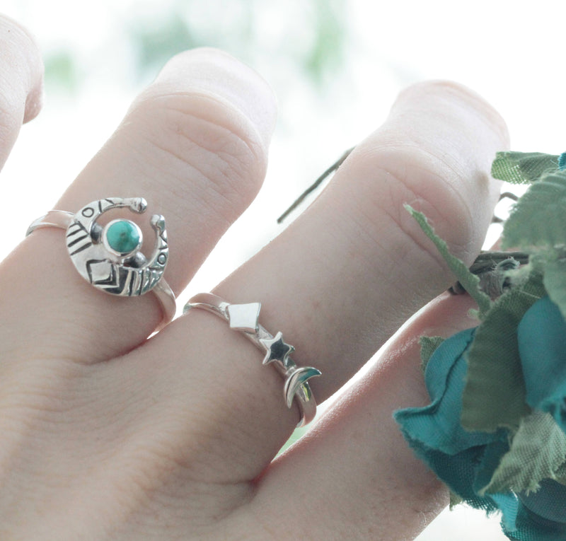 Dainty Moon Phases Turquoise Boho Ring in Solid 925 Sterling Silver