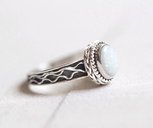 Opal Ring, Opal, White Opal Ring, Boho Ring, Gemstone Ring, White Opal, Sterling Silver Ring, Natural Opal Ring, Opal Jewelry, Large Opal