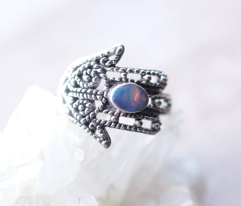 Opal Ring, Genuine Opal, Hamsa Hand, Hamsa Ring, Blue Opal, Opal Jewelry, Boho Ring, Gypsy, Sterling Silver Ring, Hamsa Jewelry, Opal