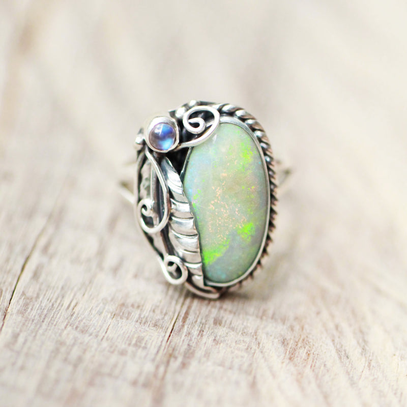 Large Opal Ring, Statement Opal Ring, Limited Edition, Fashion Ring, Collectors Jewelry, Sterling Ring, Moonstone Ring, Personalized Ring