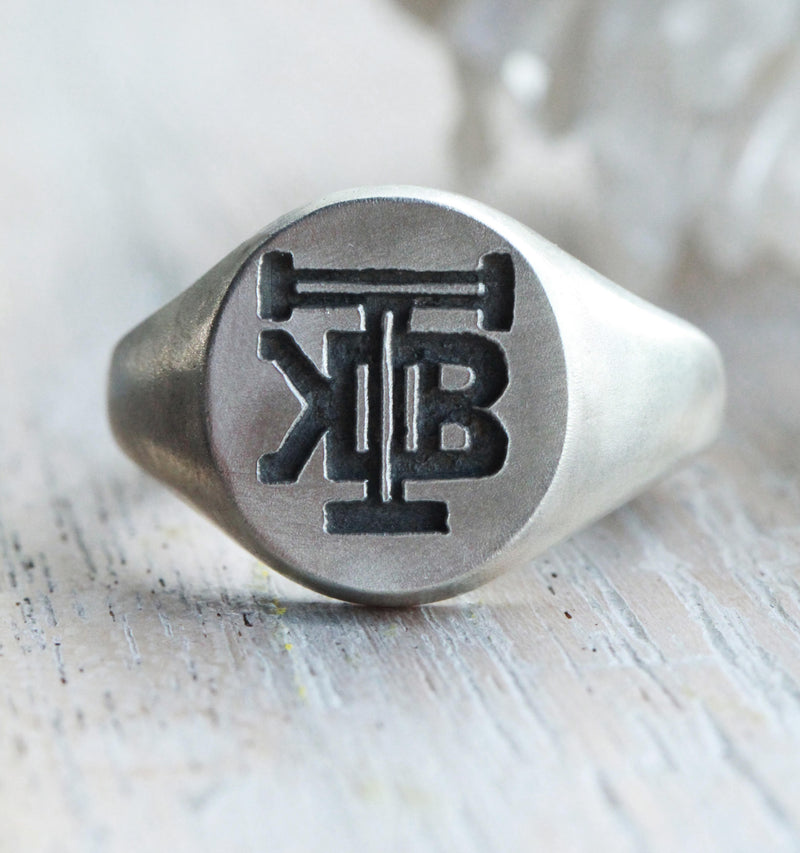 Brushed Custom Carved Mens Sterling Silver Initials Signet Ring, Personalised Mens Wedding Band, Mens Ring, Mens Custom Ring, Initials Rin