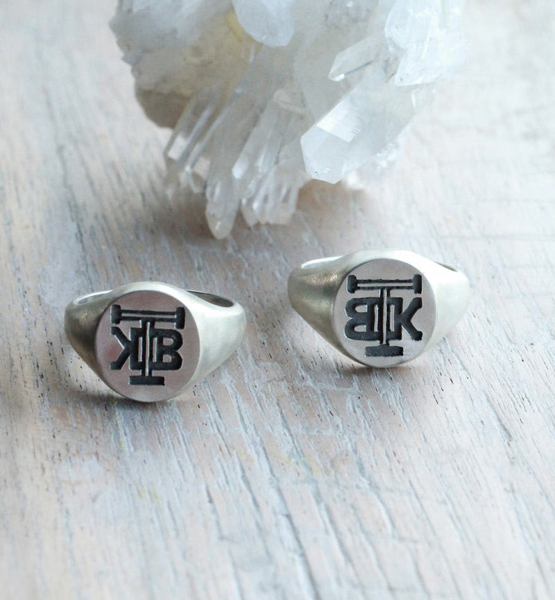Class Ring, Grad Jewelry, Initials, Custom, Personalised, 925 Sterling Silver