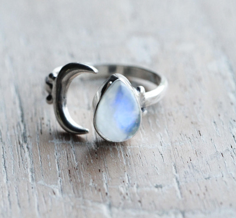 Rainbow Moonstone, Teardrop Ring, 925 Sterling, Stamped Silver, Adjustable, Boho Chic, Fashion, Crescent Moon, Nickel Free, Handmade, Pretty