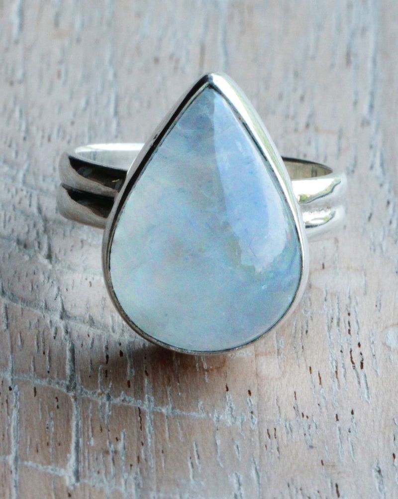 Oversized Rings, Teardrop Moonstone, Stylish Jewellery, Chunky, Boho Chic, Engravable Band, Nickel Free, Stamped 925, Sterling Silver, OOAK