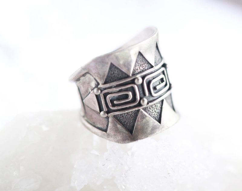 Handmade Aztec Ring in Solid 925 Sterling Silver with Wide Band
