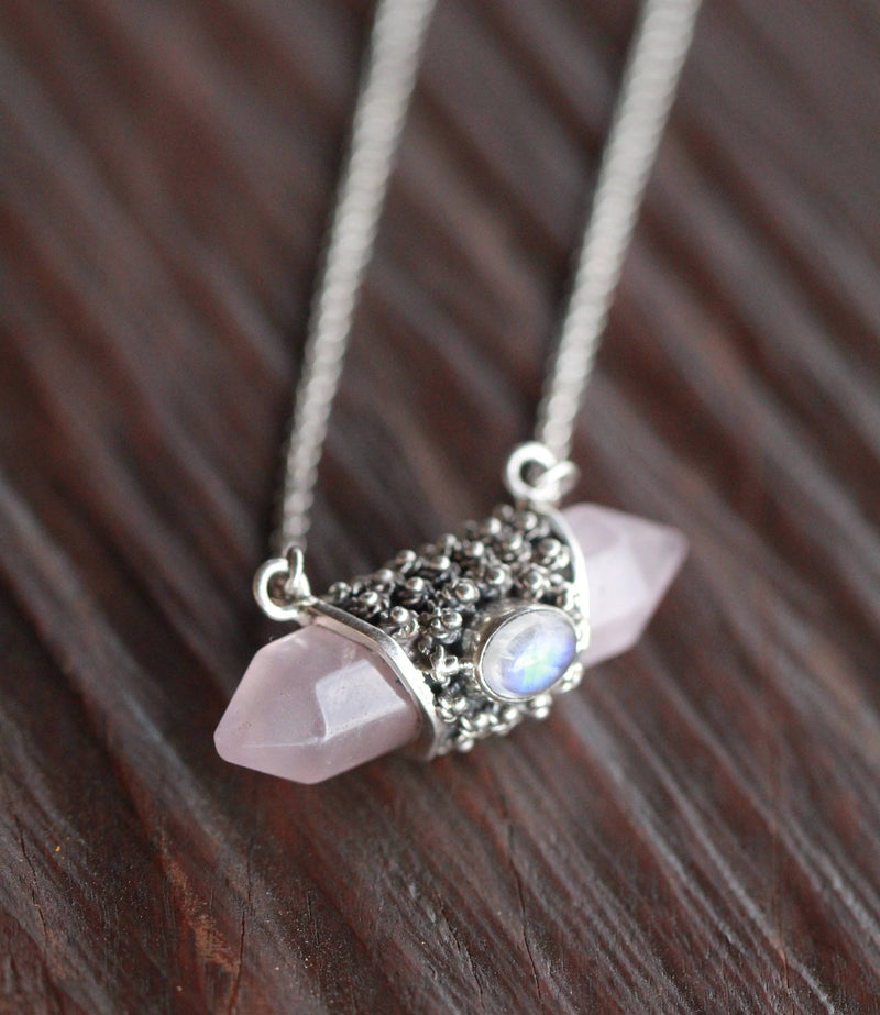 Stunning Rose Quartz Pendant Necklace, Rainbow Moonstone, 925 Sterling Silver, Handmade