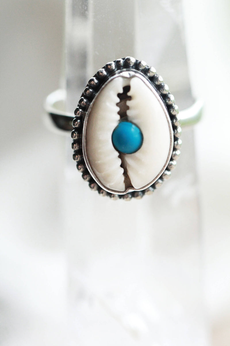 Cowrie Shell Ring, Turquoise Rings, Boho Rings, Cowrie Shell Jewelry, Silver Ring, Bohemian Rings, Gift for Women, Gifts for Her, Initials