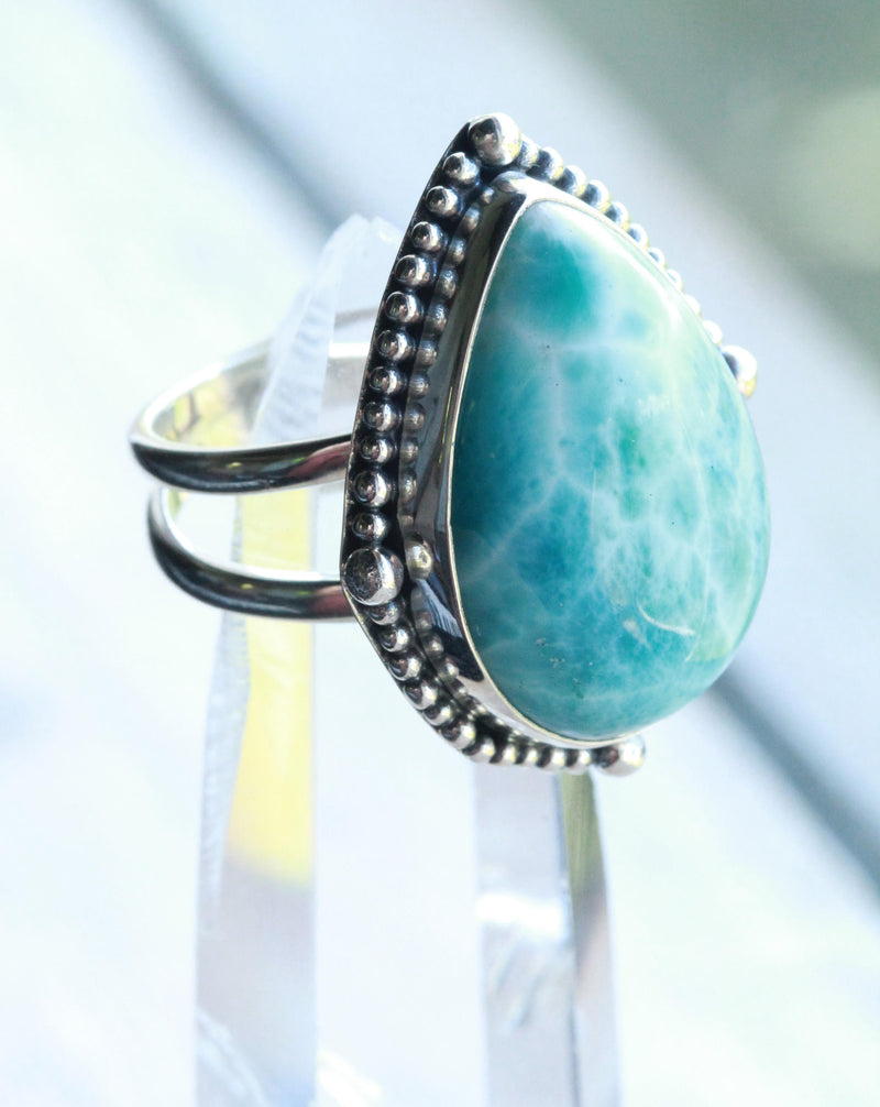 Larimar Sterling, Silver Ring, Large Teardrop, Boho, Cocktail, Bohemian Chunky Jewel, Precious stone, 925 Sterling Silver, Boho,