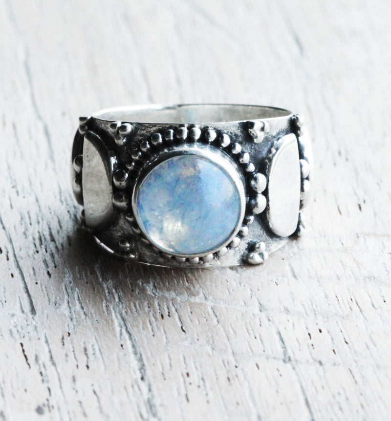 Boho Rings, Rainbow Moonstone, Moon Phases, Infinity Style, Oxidized, Vintage, Wide Band, Crescent Moon, Personalised, Granulated, Round