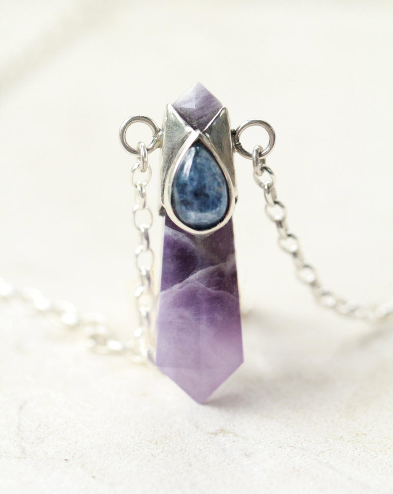 Large Amethyst Crystal Pencil Pendant Necklace, Kyanite Necklace, Solid 925 Sterling Silver Necklace, Bohemian Jewelry, Boho Jewellery