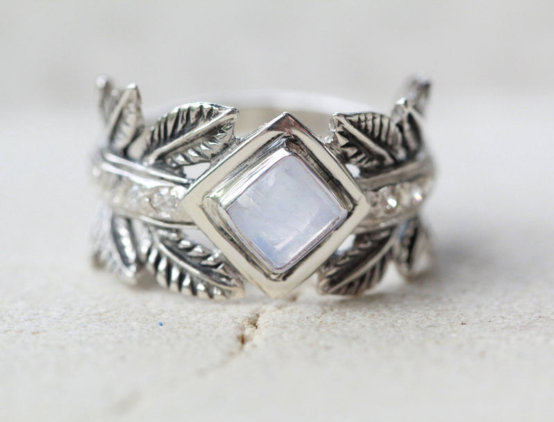 Leaf Ring, Moonstone Jewelry, Boho Chic, Greek Style, Wide Band, Square Gemstone, Rainbow, Vintage, Oxidized, 925 Silver, Stamped Sterling