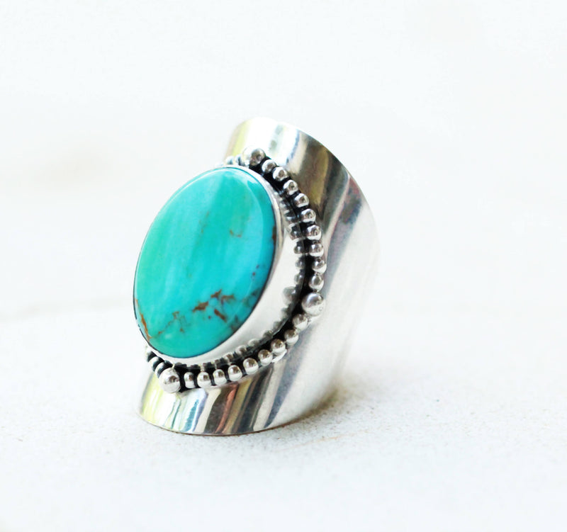 Turquoise, Natural, Statement Ring, 925 Sterling, Stamped Silver, Large, Chunky, Boho Style, Genuine Gemstone, Gypsy, Knuckle, OOAK, Trendy