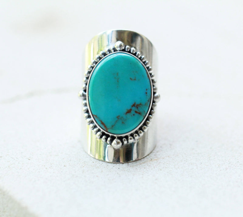 Natural, Statement Ring,  Turquoise Ring, Large Sterling Silver ring, Big Turquoise Boho Style Ring, Turquoise Rings, Gypsy Rings