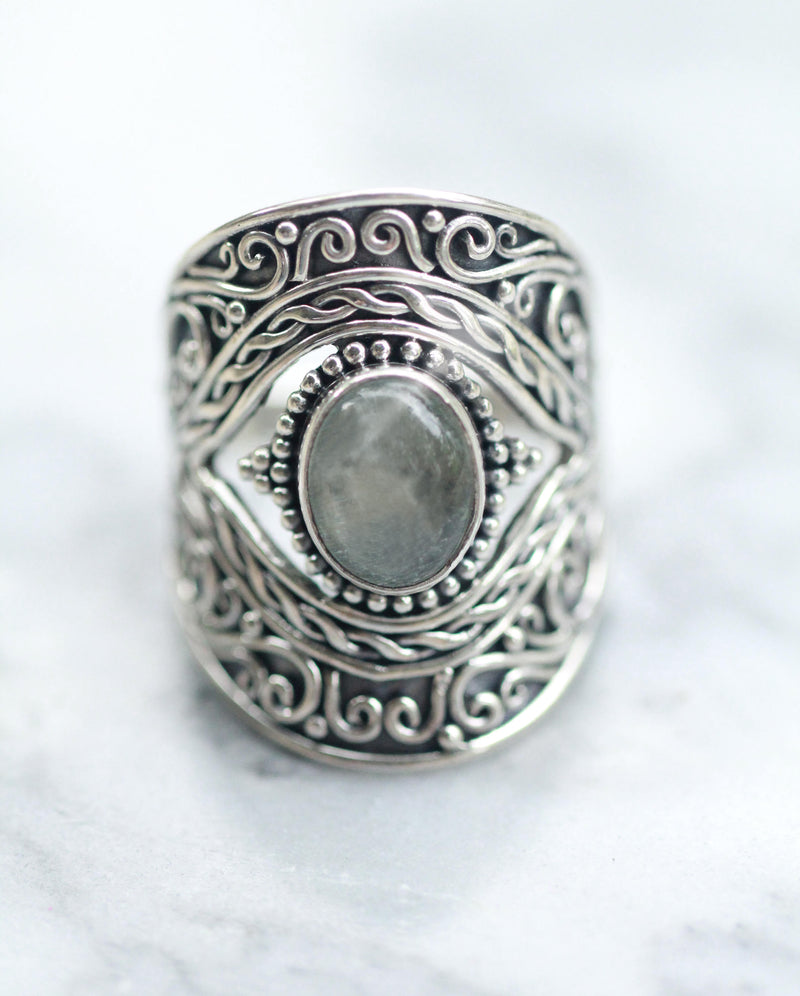 Stunning Large Boho Eye ring in Solid 925 Sterling Silver