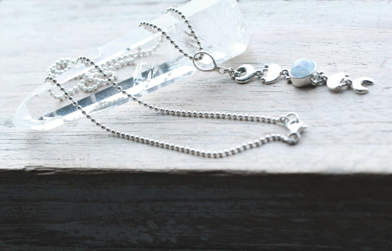 Moon Necklace, Boho Necklace, Moonstone Necklace, Sterling Necklace, Drop Necklace, Silver Necklace, Celestial Necklace, Moon Phases Jewelry