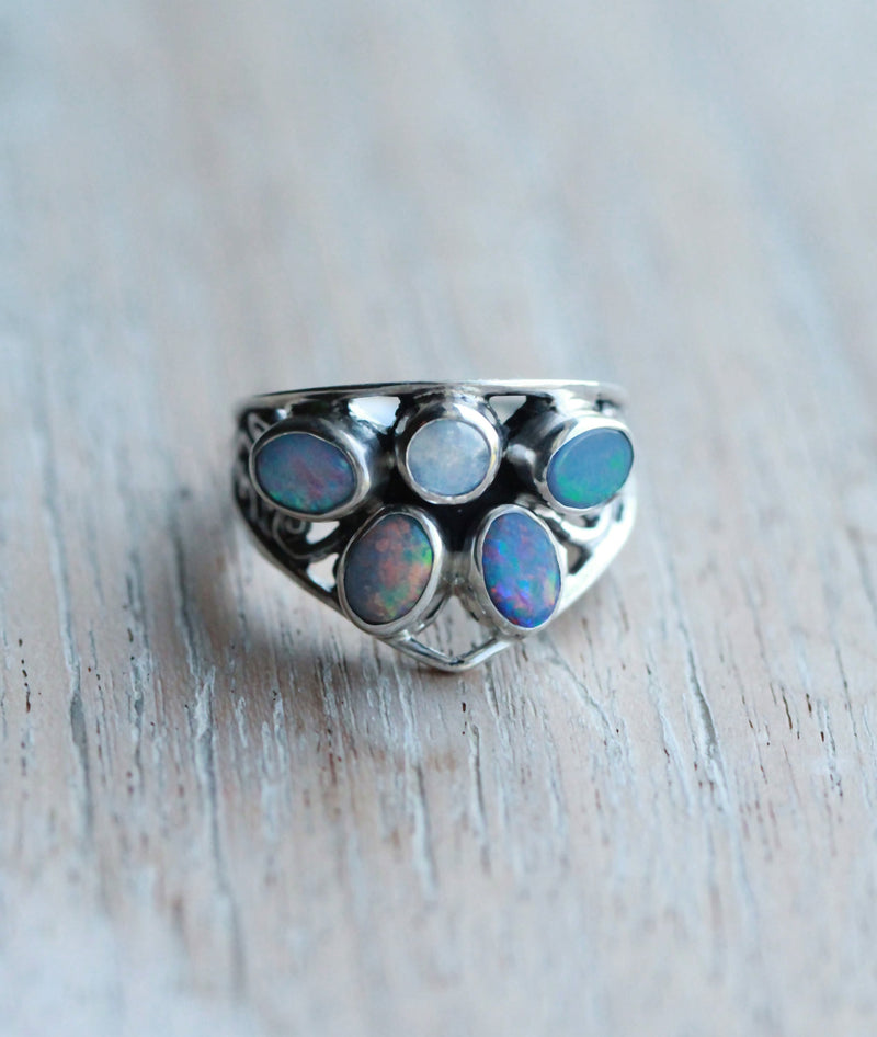 Genuine Opal, Opal Ring, Blue Opal Ring, Gemstone Ring, Boho Rings, Bohemian Ring, Women, Solid Sterling Silver Rings, Moonstone Jewelry