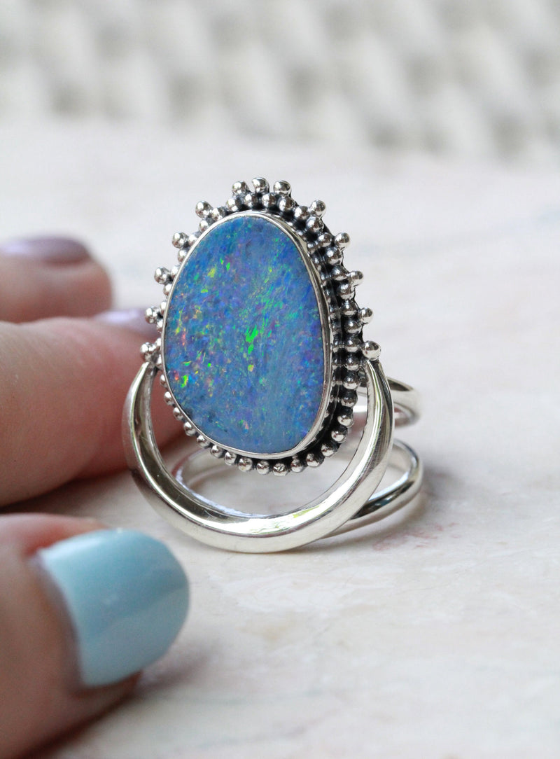 Blue Opal Ring Silver
