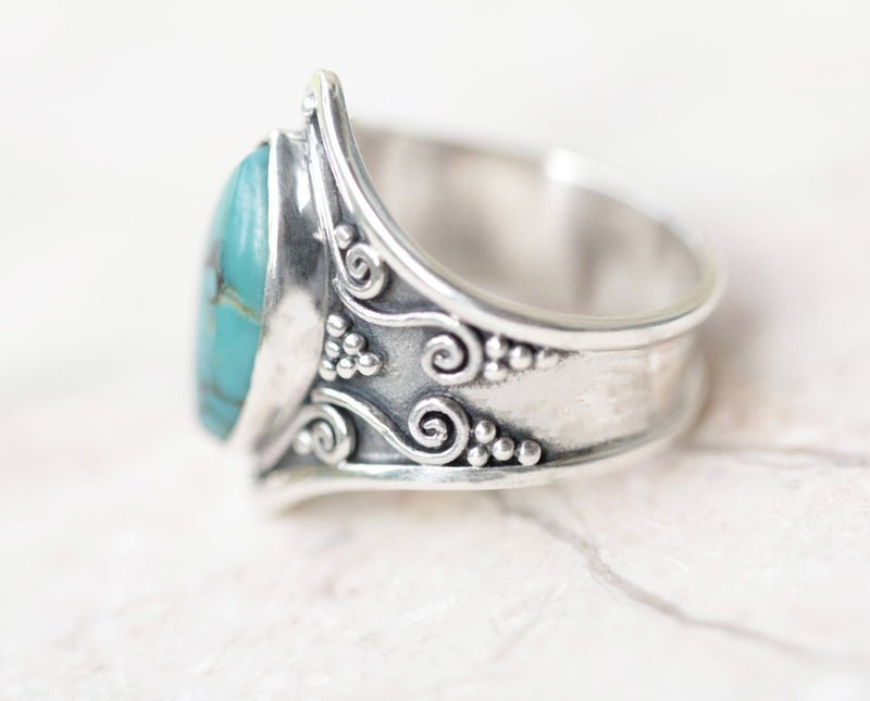 Turquoise Ring, Large Turquoise, 925 Silver, Engraving, Turquoise, Gemstone, Gypsy , 925 Sterling Silver, Marquise, Gift Idea, Large, Blue