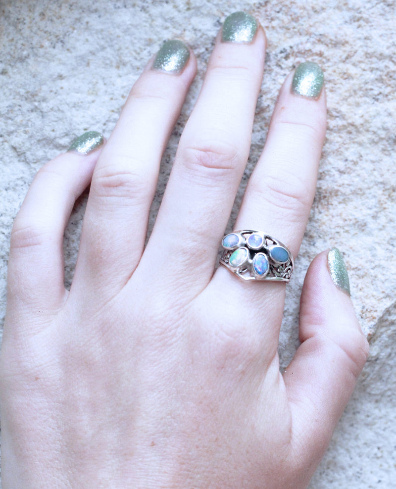 Opal Cluster Ring, Chevron Statement Jewelry, Boho, Bohemian, Moonstone, Oval and Round Gemstones, 925 Stamped, Sterling Silver, Filigree
