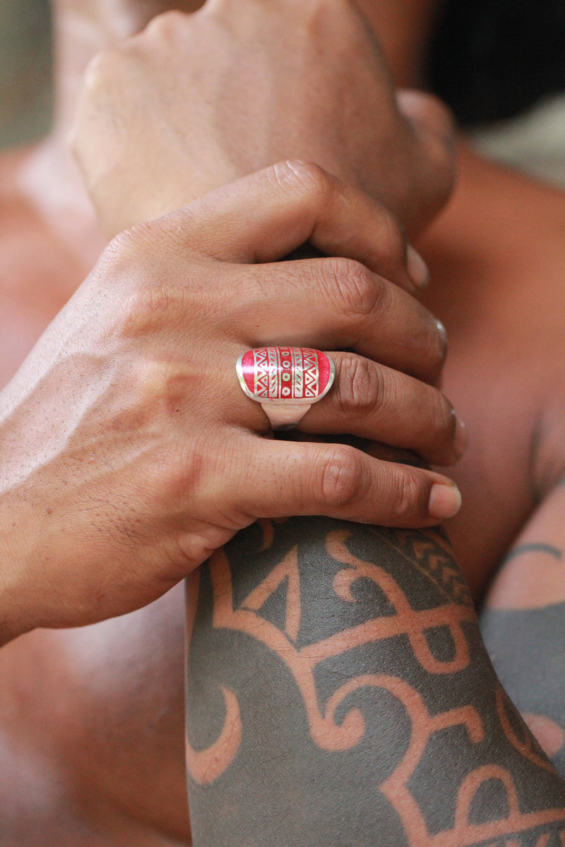 Red Mens Aztec Ring in 925 Sterling Silver, Handmade with Love