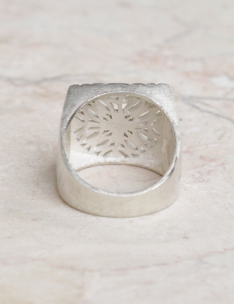 Solid Sterling Silver Signet Ring, Filigree Mandala Ring, Boho Rings, Bohemian Rings, Personalised Rings, Square Rings for Her, Gypsy Ring
