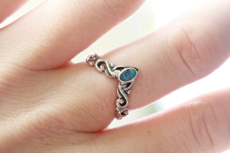 Blue Opal Carved Ring