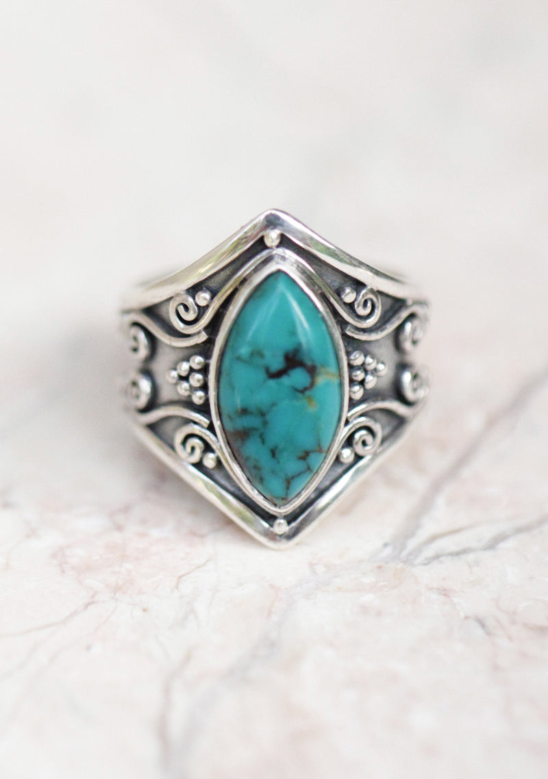 Turquoise Ring, Large Turquoise Ring, 925 Silver, Engraving, Turquoise, Gemstone, Gypsy Ring, 925 Sterling Silver, Marquise Ring, Gift Idea
