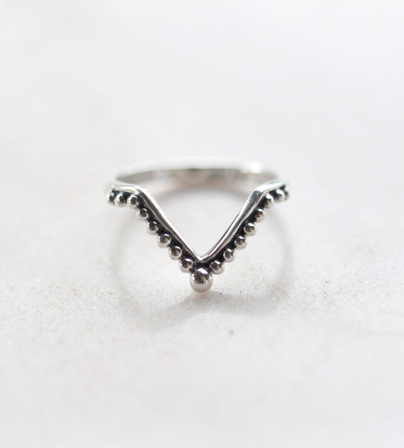 Slim Band 925 Sterling Silver Handmade Ring in Chevron Boho Style