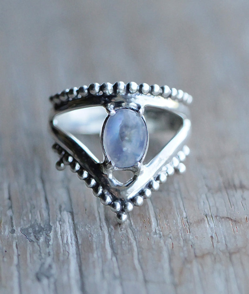 Rainbow Moonstone Ring, Boho Ring, Double Strap Ring, Gypsy Ring, Statement Rings, 925, Sterling Silver Ring, Triangle Ring, Gift for Her