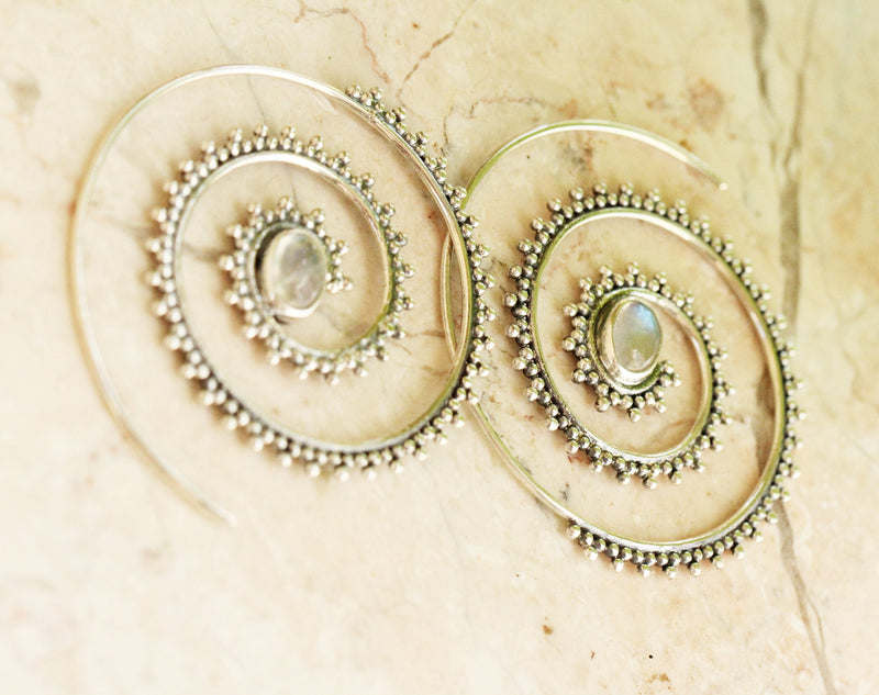 Moonstone Earrings, Boho, Spiral, 925 Sterling, Nickel Free, Hoops, Hippy Style, Native Style, Ethnic, Threader, Fashion, Oval