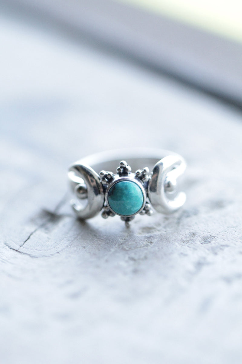 Turquoise Boho Ring, Crescent Moon Ring With Stone, 925 Silver Ring Womens, Blue Turquoise Ring, Gemstone Sterling Silver Ring, Stack Rings
