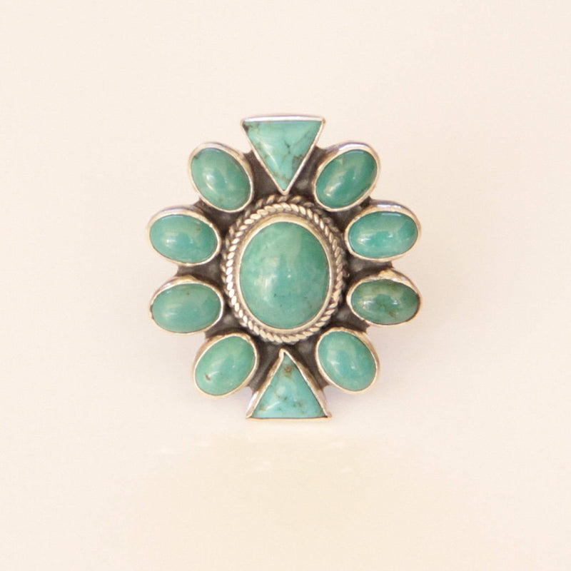 Turquoise Cluster Ring, Large Statement Jewelry Mandala Flower Shaped Jewellery Festival Fashion Handmade Ethical Rings