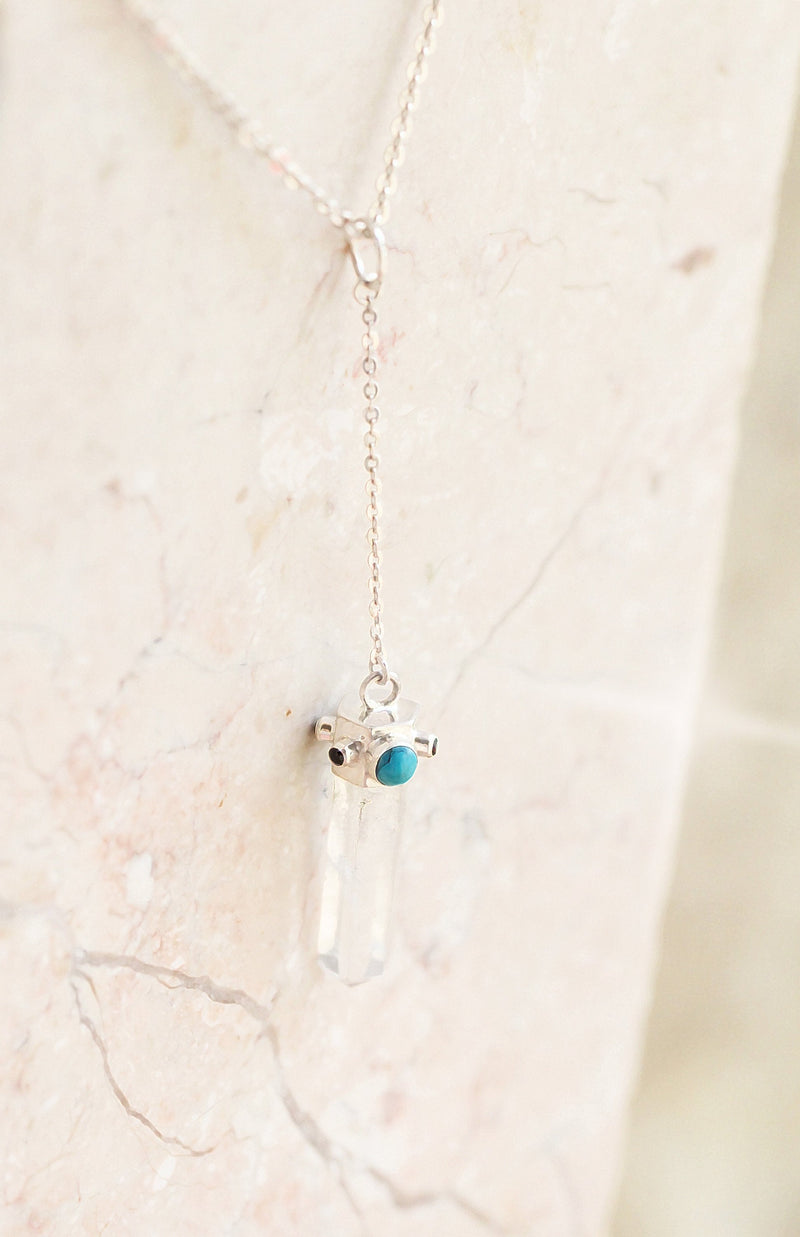 Hexagonal Pencil Crystal Pendant, Crystal Necklace, Turquoise Pendant, Crystal Jewelry, Boho Necklace, Clear Quartz Necklace, Y chain