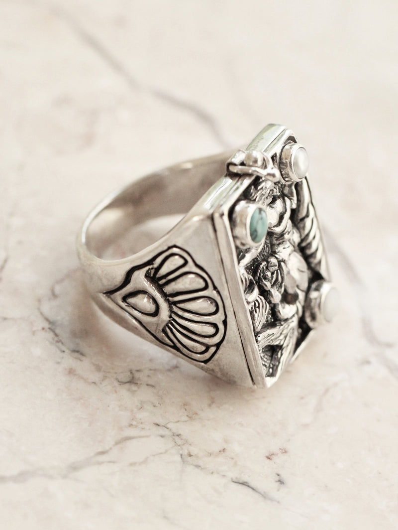 Pearl Mermaid Locket Poison Ring, Turquoise Boho Locket Ring for Women, White Opal Ring, Hand Carved Solid 925 Sterling Silver Ring