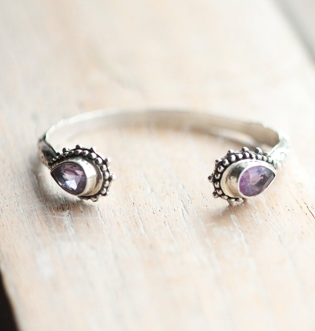 Sterling Cuff, Amethyst Teardrop, Silver Jewelry, Detailed Band, Boho Style, Bohemian Jewellery, Adjustable, Handmade, Gypsy, Classical