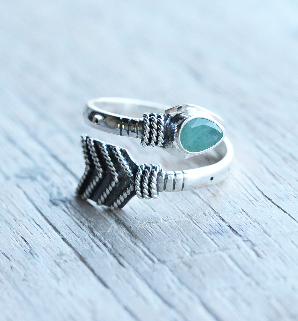 Emerald Ring, Arrow Ring, Boho Rings, Gypsy Ring, Handmade Ring, Personalised Ring, Gypsy Ring, Fashion Ring, Sterling Silver, Rings for Her