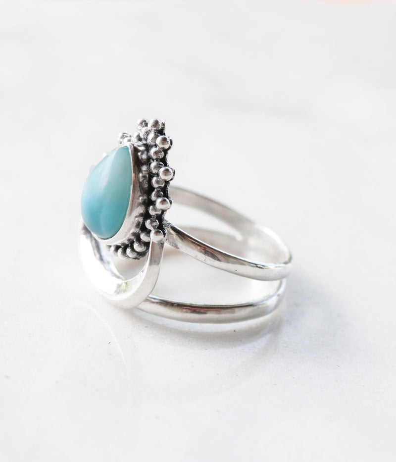 Larimar Ring, Crescent Moon Ring, Teardrop Ring, Boho Rings, Bohemian Ring, Handmade, Sterling Silver Ring, Personalised Ring, Initials Ring
