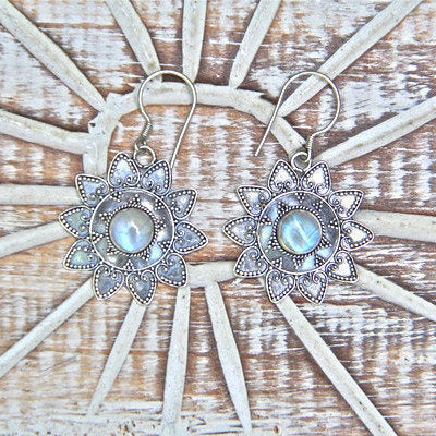 Moonstone Earrings, Star Earrings, Boho Earrings, Dangle Earrings, Fashion Earrings, Bohemian Jewelry, Rainbow Moonstone, Large Earrings