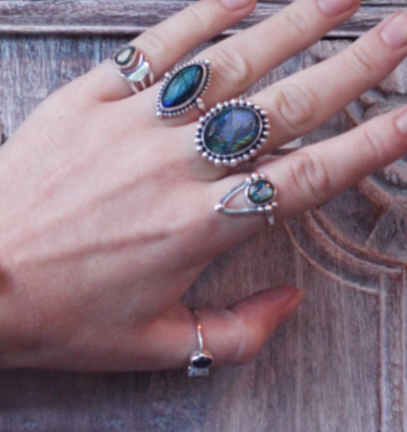 Boho Ring with Marquise Gemstone Handmade in Solid 925 Sterling Silver