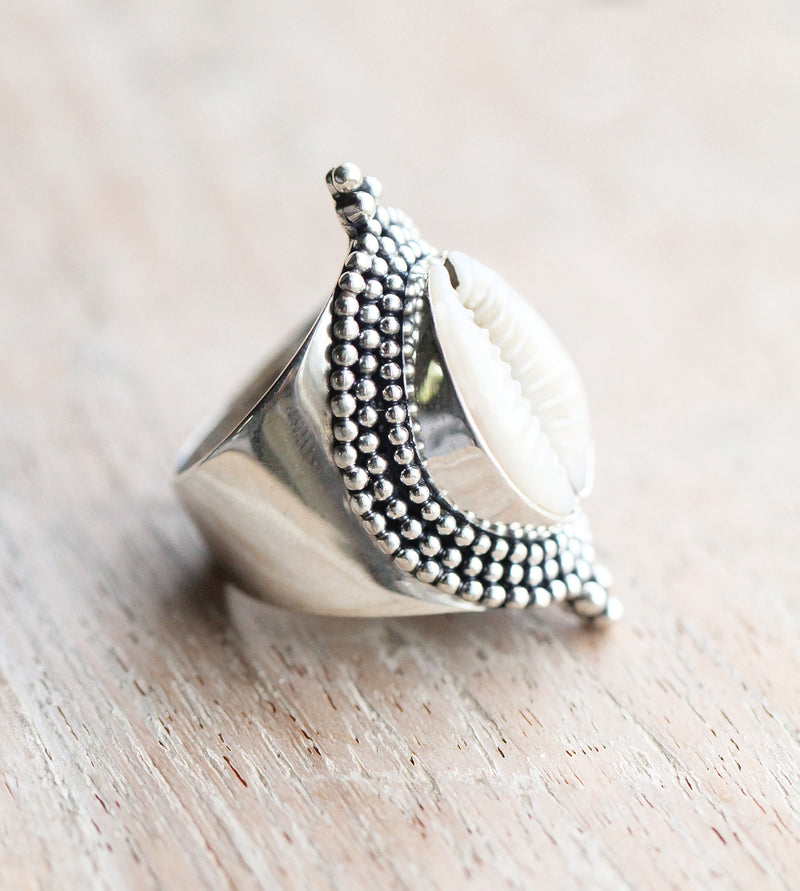 Cowrie Ring, Shell, Boho, Knuckle, Unique, Jewelry, 925 Sterling, Silver, Bohemian, Handcrafted, White Gemstone, Oval, Sea, Ocean, Beach