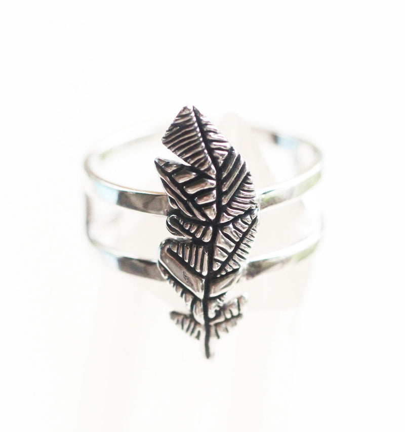 Boho Feather 925 Sterling Silver Ring, Handmade with Double Band