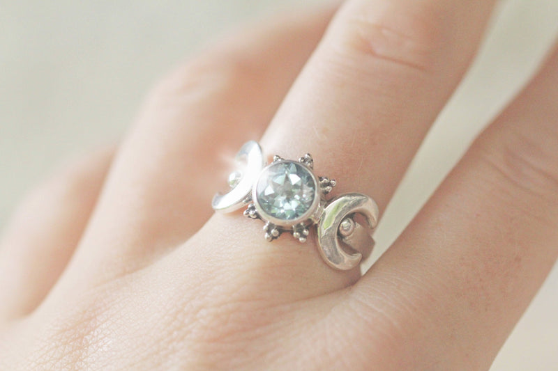 Topaz Ring, Crescent Moon, Moon Ring, Goddess Ring, December Birthstone, Gemstone Band, Silver Ring, Engagement Ring, Round Ring, Cocktail
