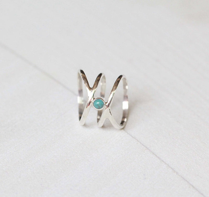 Pretty Slim Band, Turquoise Ring, Boho Style, 925 Silver, Sterling Silver, Filigree Style, Minimal, Casual, Handmade, Nickel Free, Blue