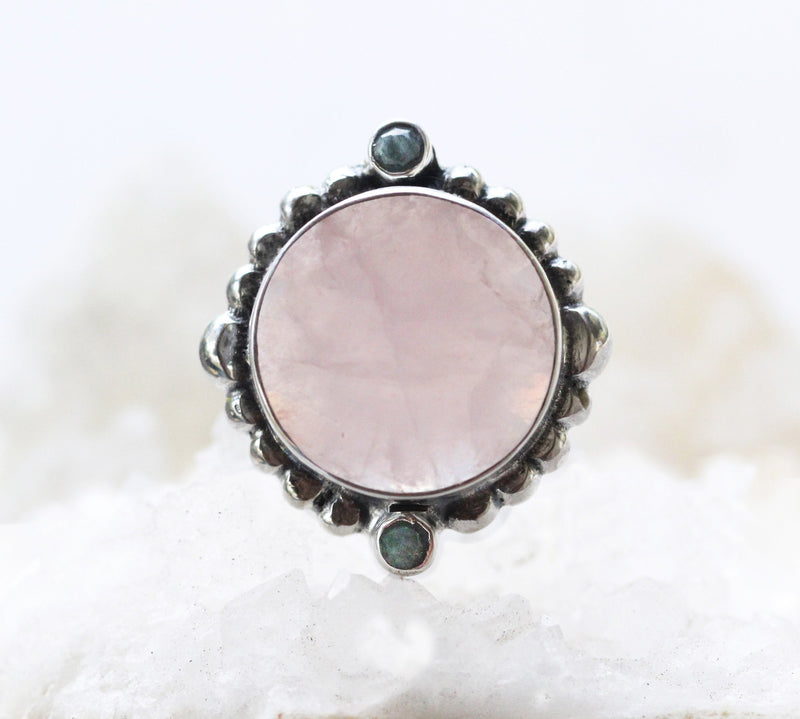 Rose Quartz Ring, Large Quartz Ring, Statement Ring, 925 Silver Ring, High Fashion Ring, Boho Ring, High Fashion Ring, Boho Jewelry, Boho