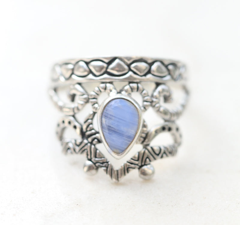 Filigree Ring Teardrop Moonstone Crown Style Boho Bohemian Engraved Silver Aztec Patterned Band Classical Look Vintage Style