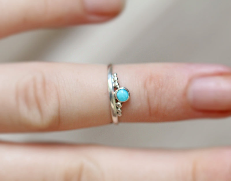 Boho, Silver Midi Ring, Turquoise, Dainty, Pretty, Little, Sterling, 925 Stamped, Stacking, Slim Band, Bohemian, Trendy, Blue Gemstone, OOAK