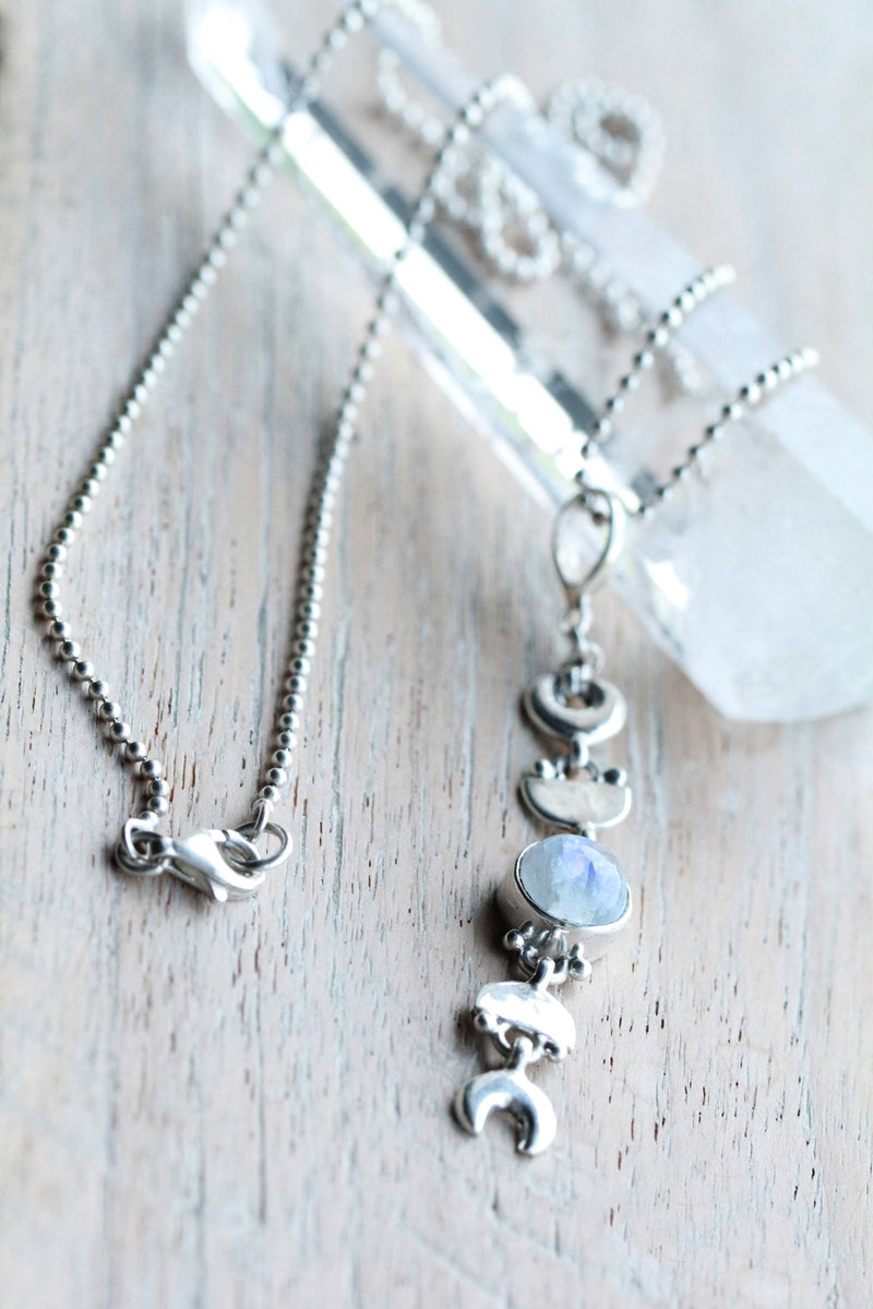 Moon Phases, Moonstone Necklace, Boho, Y Chain, Handcrafted, Initials, 925 Sterling, Stamped Silver, Crescent Moon, Stylish, Trendy, OOAK
