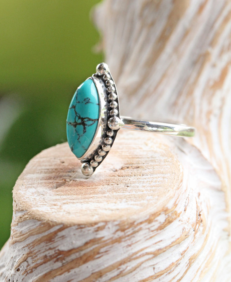 Marquise Turquoise Ring, Boho Style, 925 Sterling, Stamped Silver, Womens, Cross, Granulated, Blue Gemstone, Genuine, Gypsy Style, Pretty